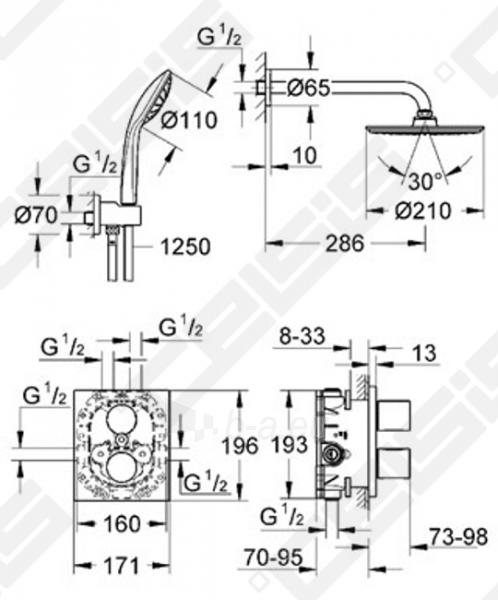 Potinkinis dušo komplektas GROHE Grohtherm 3000 Cosmopolitan su termostatiniu dušo maišytuvu Paveikslėlis 2 iš 2 270790200254