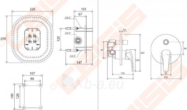 Potinkinis vonios/dušo maišytuvas RAVAK Rosa RS 065.00, skirtas R-box Paveikslėlis 4 iš 4 270790200263