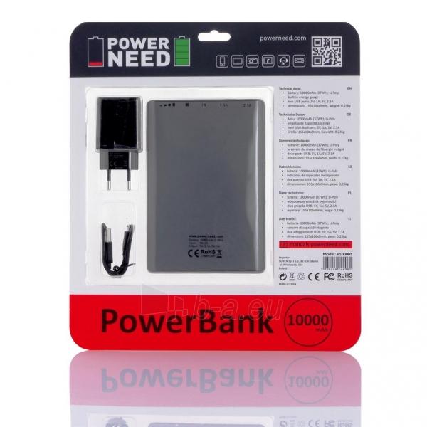 PowerNeed Sunen Nešiojamas įkroviklis 10000mAh 2x USB; tablet, smartfon; grafito Paveikslėlis 3 iš 8 310820044096