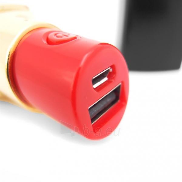 PowerNeed Sunen Nešiojamas įkroviklis Lūpų dažai 2600mAh, USB, juoda-aukso Paveikslėlis 4 iš 6 310820014306
