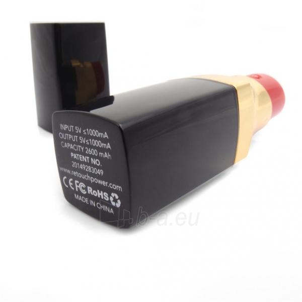 PowerNeed Sunen Nešiojamas įkroviklis Lūpų dažai 2600mAh, USB, juoda-aukso Paveikslėlis 5 iš 6 310820014306