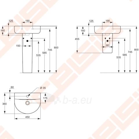 Praustuvas Arc 45x36 cm su anga maišytuvui Paveikslėlis 2 iš 2 270711000640