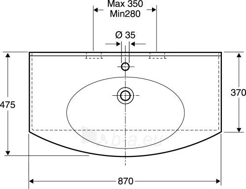 Praustuvas Caprice 87x47,5 cm, tvirt. varžtais, baltas Paveikslėlis 2 iš 2 310820163845
