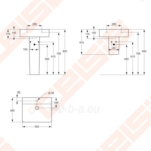 Praustuvas Cube 50x46 su anga maišytuvui Paveikslėlis 2 iš 2 270711000638