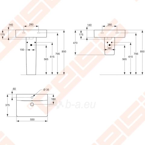 Praustuvas Cube 55x38 cm su anga maišytuvui Paveikslėlis 2 iš 2 270711000287