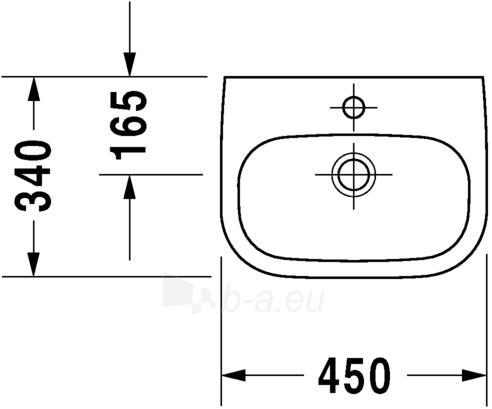 Praustuvas Duravit D-Code 45x34 cm, baltas Paveikslėlis 3 iš 4 270711001121