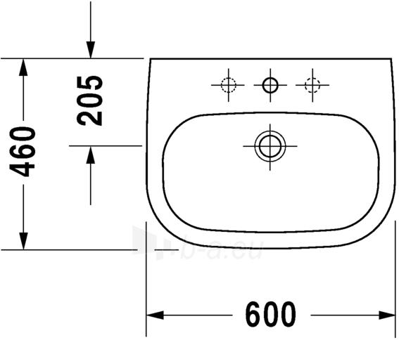 Praustuvas Duravit D-Code 60 cm, baltas Paveikslėlis 3 iš 4 270711001123