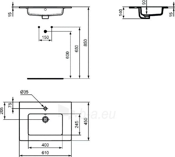 Praustuvas IDEAL STANDARD, TEMPO, 60 cm Paveikslėlis 2 iš 2 310820219030