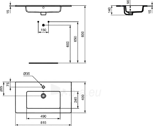 Praustuvas IDEAL STANDARD, TEMPO, 82 cm Paveikslėlis 2 iš 2 310820219031