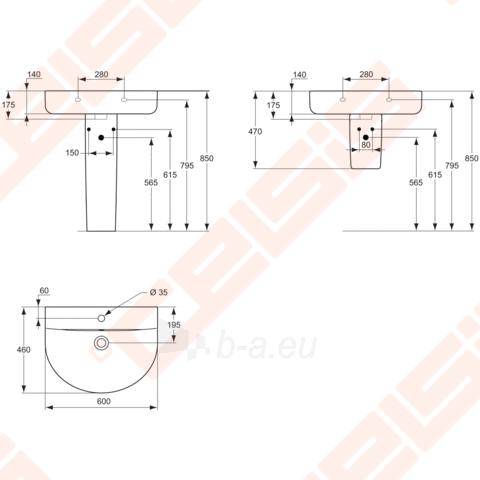 Praustuvas IDEAL STANDARD Connect Arc 60x46 cm Paveikslėlis 2 iš 2 270711001234