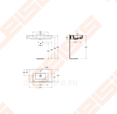 Praustuvas IDEAL STANDARD Strada plačiais kraštais 81x45,5 cm Paveikslėlis 2 iš 2 270711001238