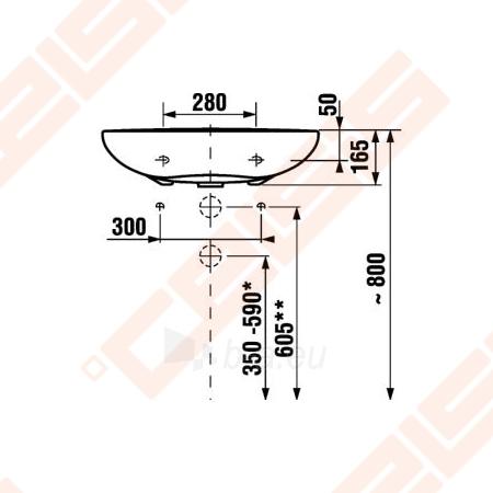 Praustuvas JIKA Mio 64 x 55 cm neįgaliems be angos maišytuvui Paveikslėlis 2 iš 3 270711001243