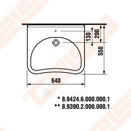 Praustuvas JIKA Mio 64 x 55 cm neįgaliems be angos maišytuvui Paveikslėlis 3 iš 3 270711001243
