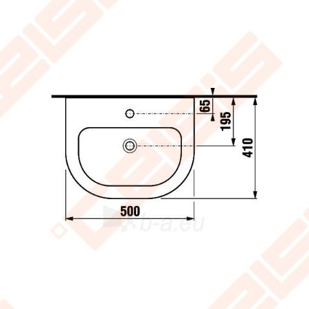 Praustuvas JIKA Olymp Deep 50 x 41 cm su 1 anga maišytuvui viduryje Paveikslėlis 3 iš 3 270711001246