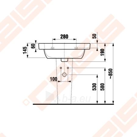 Praustuvas JIKA Olymp Deep 60 x 45 cm su 1 anga maišytuvui viduryje Paveikslėlis 2 iš 3 270711001248
