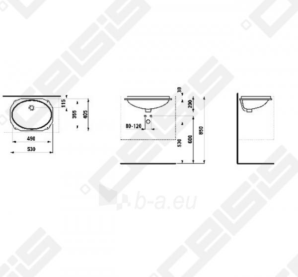 Praustuvas LAUFEN Birova 49x35,5 cm, įmontuojamas iš apačios, abi pusės padengtos glazūra Paveikslėlis 2 iš 2 270711001252