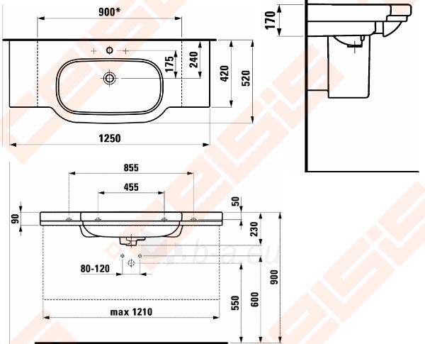 Praustuvas LAUFEN LB3 Classic 125x52 cm su plačiais pjaunamais kraštais ir 1 anga maišytuvui viduryje Paveikslėlis 2 iš 2 270711001254