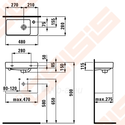 Praustuvas LAUFEN Pro New 48x28 cm su sklyle dešinėje Paveikslėlis 2 iš 2 270711001261