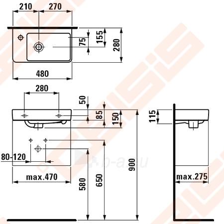 Praustuvas LAUFEN Pro New 48x28 cm su sklyle kairėje Paveikslėlis 2 iš 2 270711001262