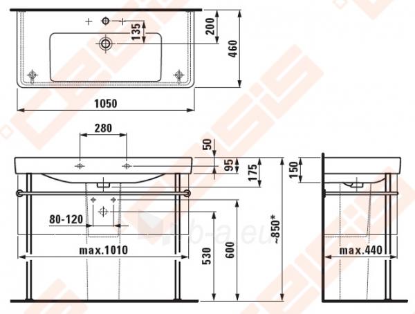 Praustuvas LAUFEN Pro S 105x46 cm su plačiais kraštais Paveikslėlis 2 iš 2 270711001263