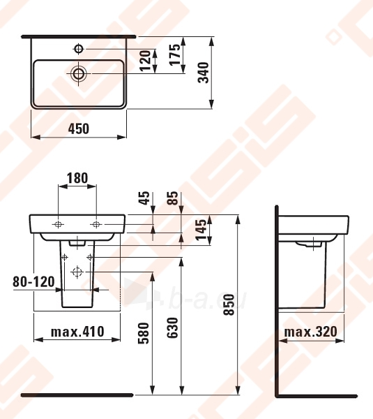 Praustuvas LAUFEN Pro S 45x34 cm, mažas Paveikslėlis 2 iš 3 270711001264
