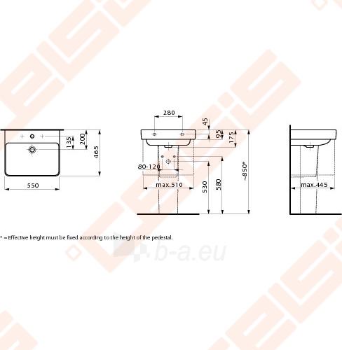 Praustuvas LAUFEN Pro S 55x46,5 cm Paveikslėlis 2 iš 2 270711001265
