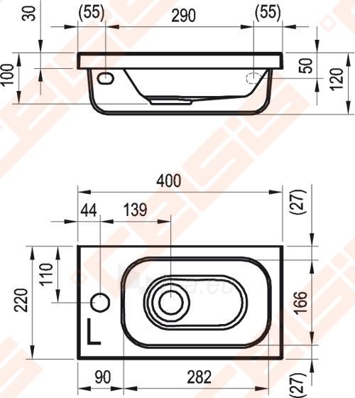 Praustuvas RAVAK Chrome 400 L (kairinis) Paveikslėlis 2 iš 5 270711001275