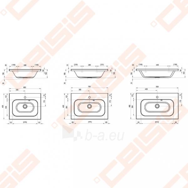 Praustuvas RAVAK Chrome 60x49 cm Paveikslėlis 2 iš 3 270711001277