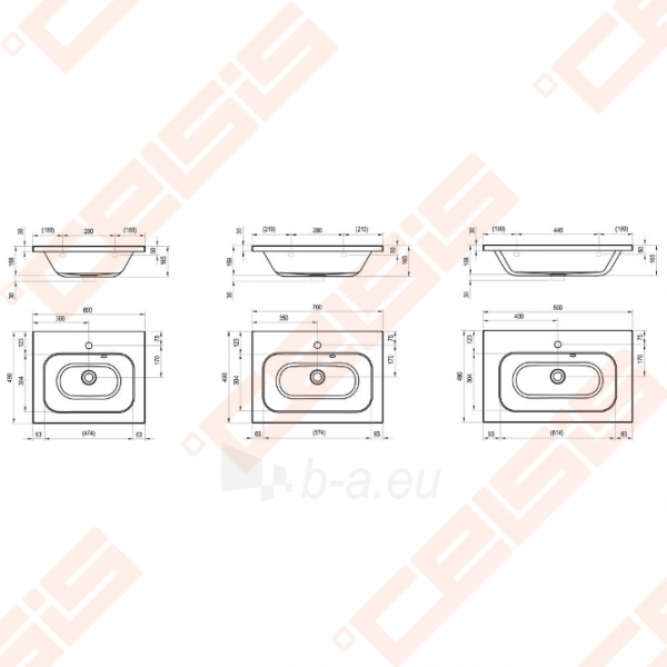 Praustuvas RAVAK Chrome 80x49 cm Paveikslėlis 2 iš 3 270711001279
