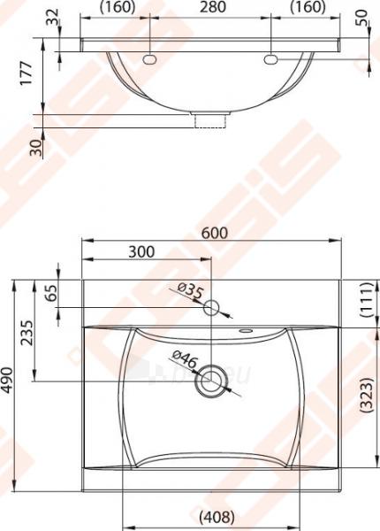 Praustuvas RAVAK Classic 60x49 cm Paveikslėlis 2 iš 5 270711001280