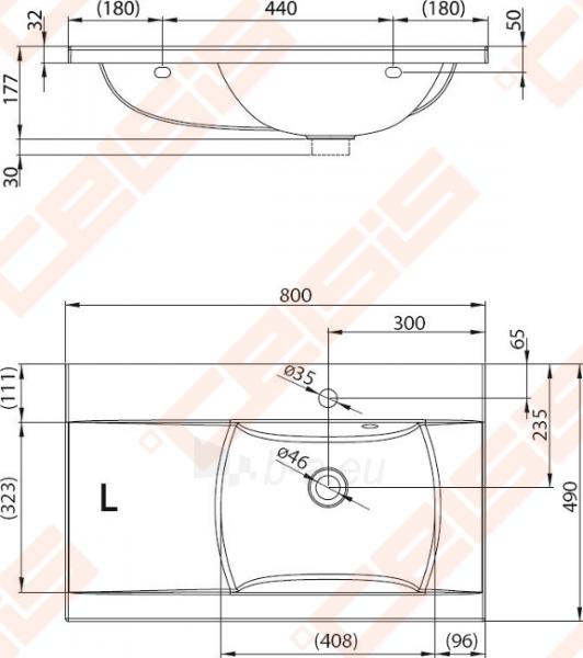 Praustuvas RAVAK Classic 80x49 cm L (kairinis) Paveikslėlis 2 iš 5 270711001282