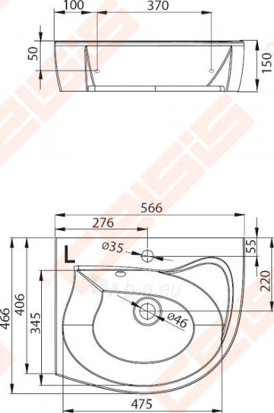 Praustuvas RAVAK Rosa 56x46 cm L (kairinis) Paveikslėlis 2 iš 3 270711001286