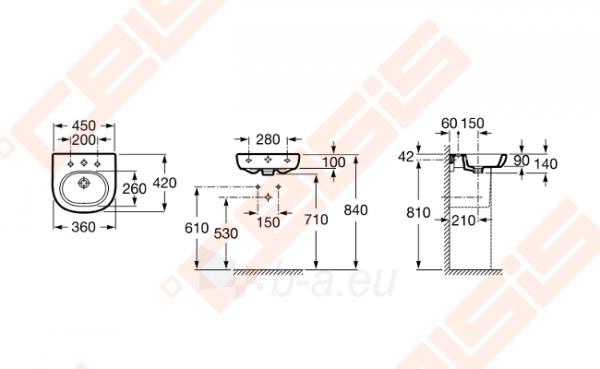 Praustuvas ROCA Meridian 45x42 cm Paveikslėlis 2 iš 2 270711001291
