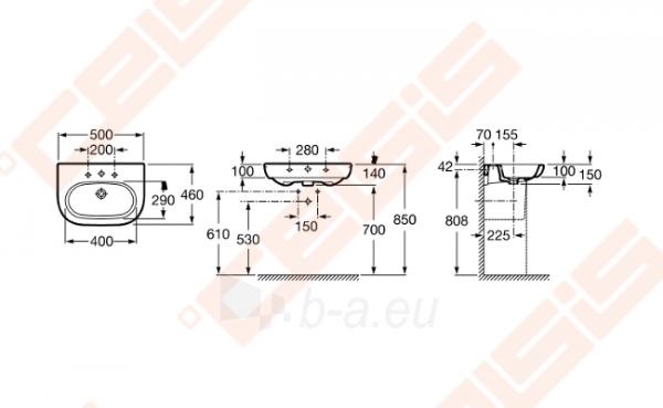 Praustuvas ROCA Meridian 50x46 cm Paveikslėlis 2 iš 4 270711001292