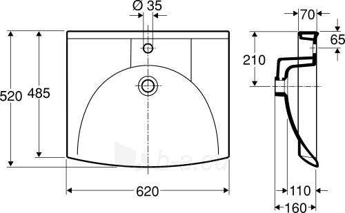Praustuvas SIGN 62x52 cm, tvirt. laikikliais, baltas Paveikslėlis 2 iš 2 310820163854