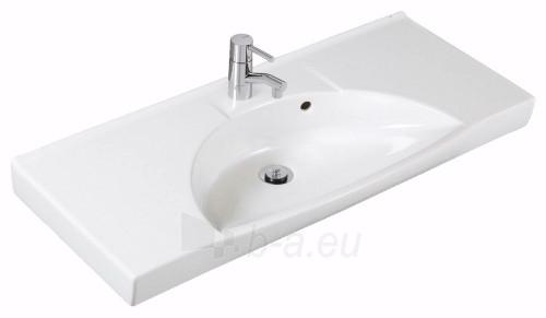 Praustuvas SIGN Compact, 92x42 cm ,centrinis, tvirt. laikikliais, baltas Paveikslėlis 1 iš 2 310820163855