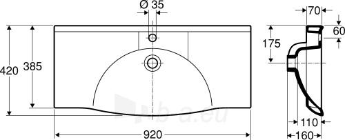 Praustuvas SIGN Compact, 92x42 cm ,centrinis, tvirt. laikikliais, baltas Paveikslėlis 2 iš 2 310820163855