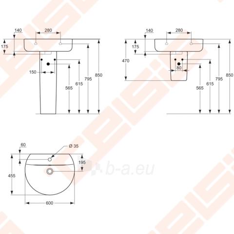Praustuvas Sphere 55x45 su anga maišytuvui Paveikslėlis 2 iš 2 270711000289