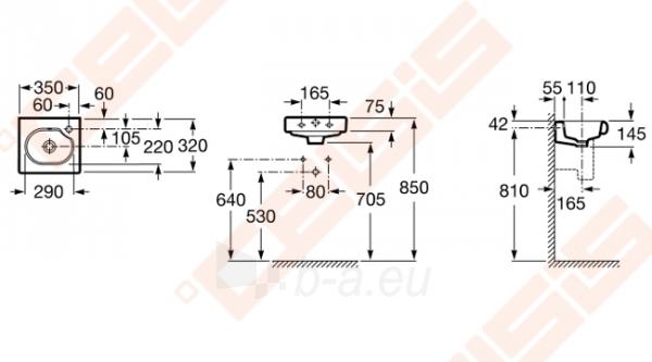 Praustuvas stačiakampis ROCA Meridian 32x35 cm su 1 anga maišytuvui dešnėje Paveikslėlis 2 iš 2 270711001300