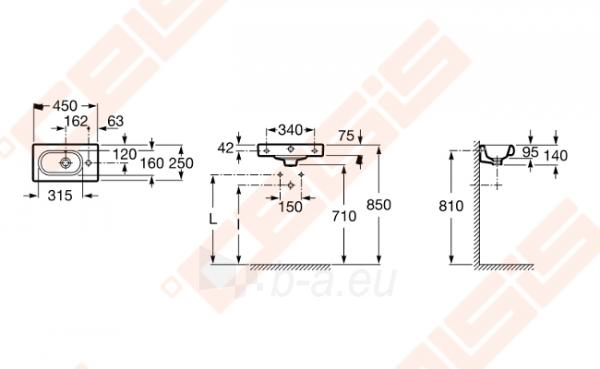 Praustuvas stačiakampis ROCA Meridian 45x25 cm su 1 anga maišytuvui dešnėje Paveikslėlis 2 iš 2 270711001301