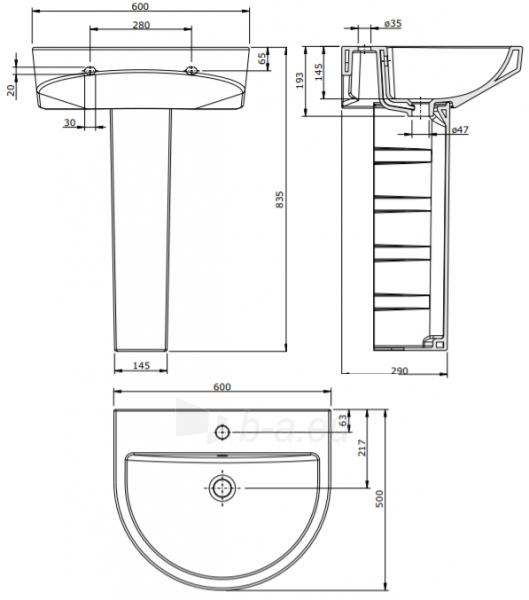 Praustuvas Urby 600x500x193 mm, su 1 skyle maišyt, mont. rink., baltas Paveikslėlis 3 iš 3 310820183086