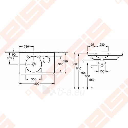 Praustuvas VILLEROY&BOCH Joyce 800x490 mm su 2 skylėmis maišytuvams Paveikslėlis 2 iš 2 270711001310