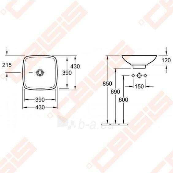 Praustuvas VILLEROY&BOCH Loop&Friends 430x430 mm, su persipylimo anga Paveikslėlis 2 iš 4 270711001312