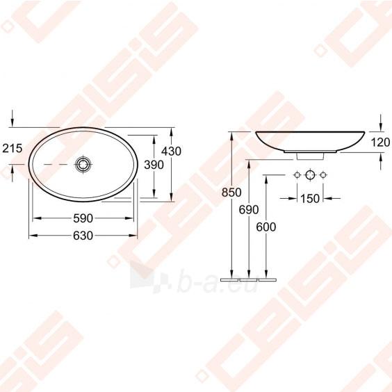 Praustuvas VILLEROY&BOCH Loop&Friends 630x430 mm, su persipylimo anga Paveikslėlis 2 iš 3 270711001315