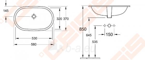 Praustuvas VILLEROY&BOCH O.Novo 530x320 mm, montuojamas iš apačios Paveikslėlis 2 iš 3 270711001327