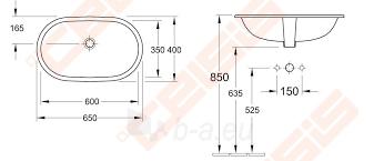 Praustuvas VILLEROY&BOCH O.Novo 600x350 mm, montuojamas iš apačios Paveikslėlis 2 iš 3 270711001328