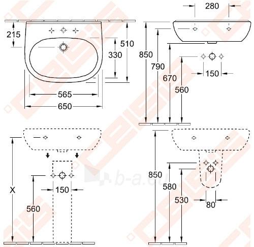 Praustuvas VILLEROY&BOCH O.Novo 650x510 mm Paveikslėlis 2 iš 3 270711001329