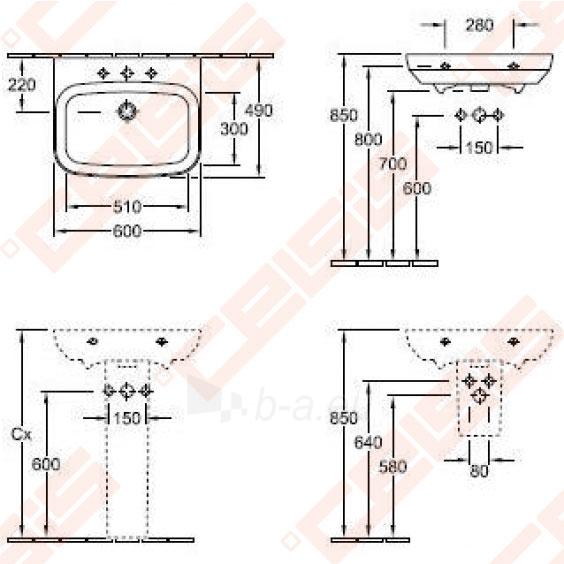 Praustuvas VILLEROY&BOCH Sentique 600x490 mm Paveikslėlis 2 iš 2 270711001330