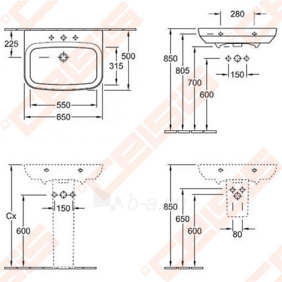 Praustuvas VILLEROY&BOCH Sentique 650x500 mm Paveikslėlis 2 iš 2 270711001331