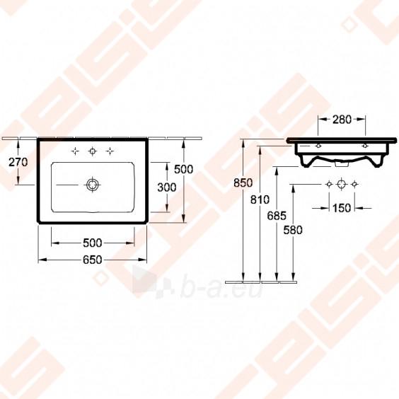 Praustuvas VILLEROY&BOCH Venticello 650x500 mm Paveikslėlis 2 iš 3 270711001333